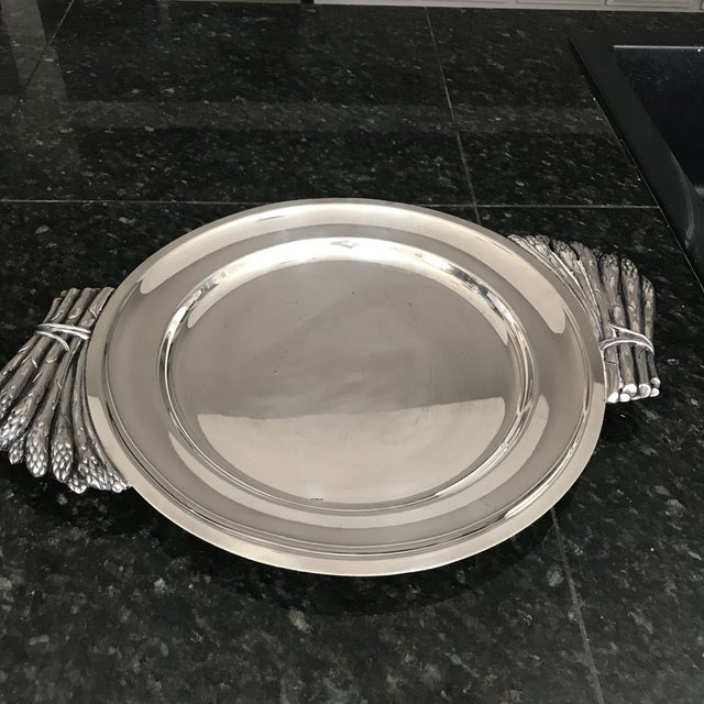 "Italian Italian ""Teghini Firenze"" Silver Plated Serving Platter With Asparagus Handles For Sale - Image 3 of 7"