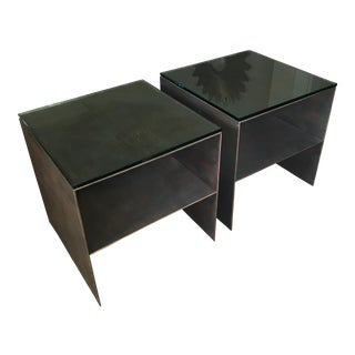 Modern Metal Side Tables - A Pair