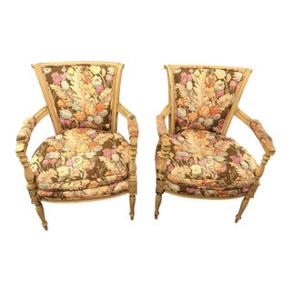 Paint Decorated Maison Jansen Fauteuils with Attractive Fabric - a Pair