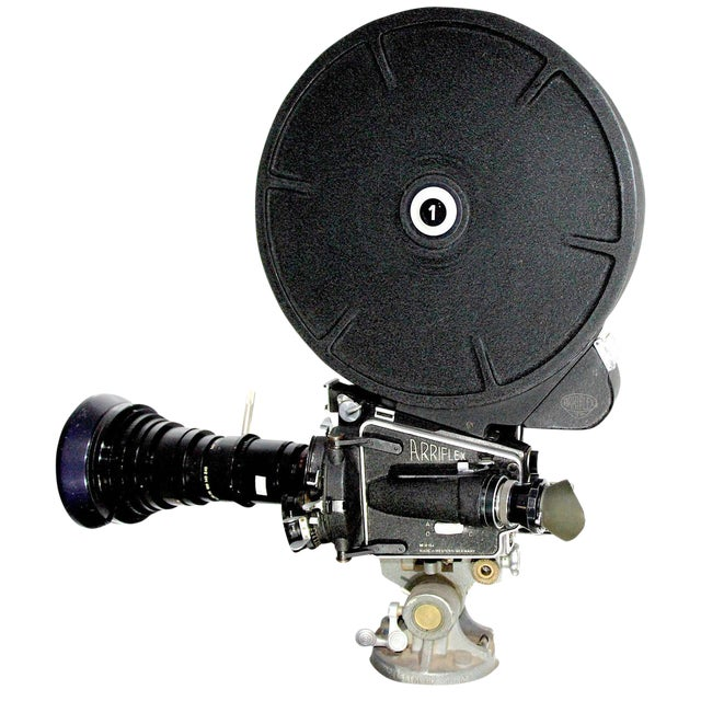 Arriflex Circa 1950 Model M Movie Camera With Rare 1200' Film Magazine. Complete and Accurate. Display As Sculpture. For Sale