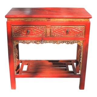 Vintage Chinese Chinoiserie Red & Gold Lacquer and Gilt Console Table / Powder Room Vanity For Sale