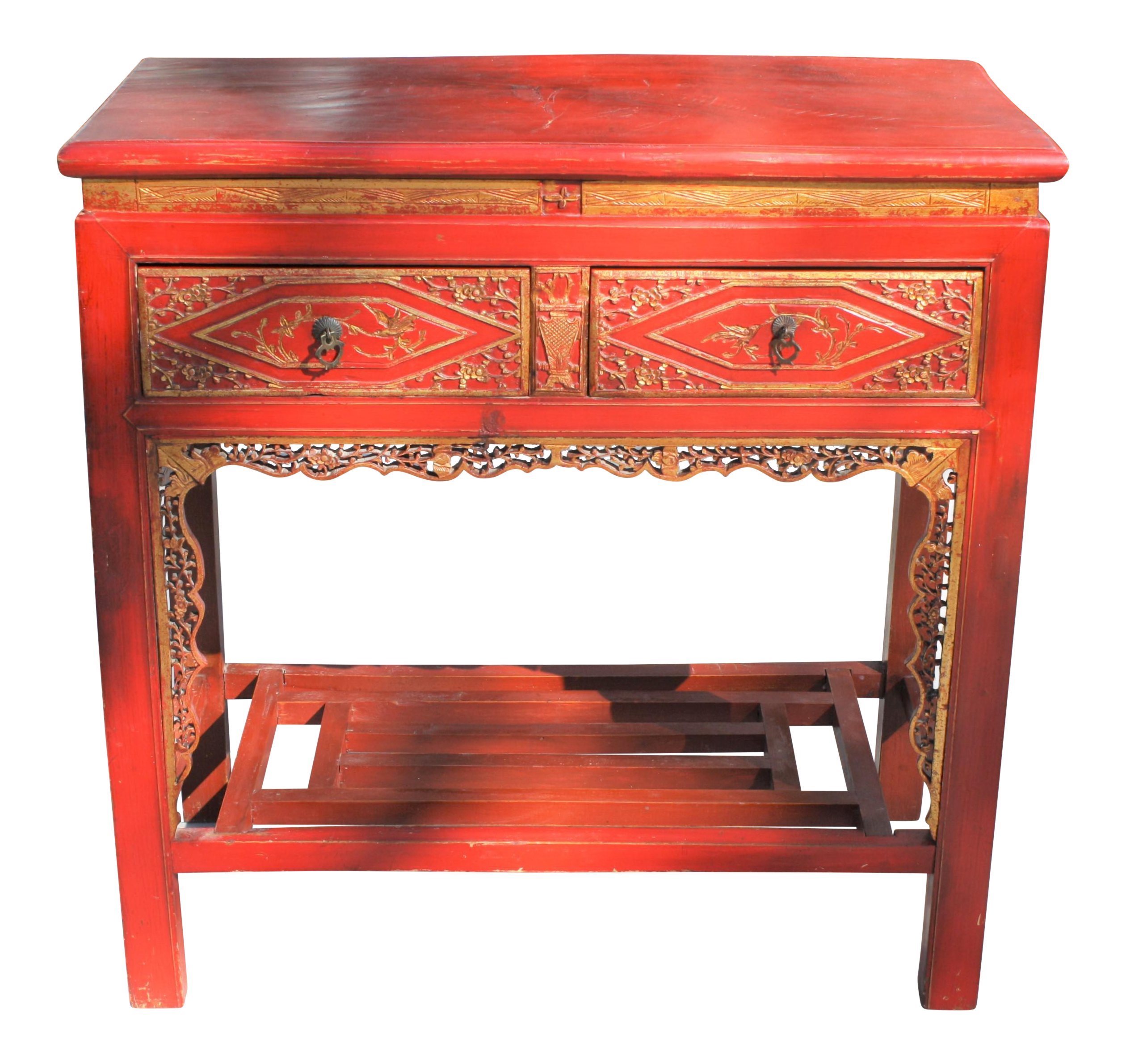 Vintage Chinese Chinoiserie Red U0026 Gold Lacquer And Gilt Console Table /  Powder Room Vanity