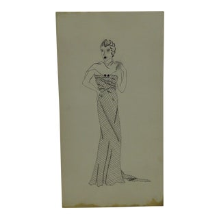 """1930s Mid-Century Modern Fashion Sketch/Drawing, """"Flowing Sleeveless Gown"""" For Sale"""