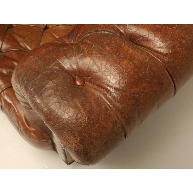 Leather Original Leather Antique Chesterfield Chair For Sale - Image 7 of 11