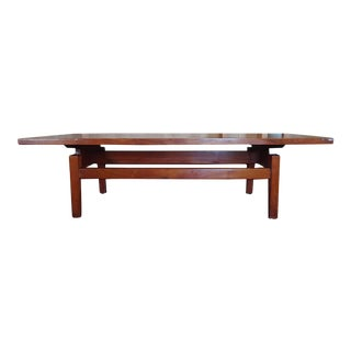 1960s Mid Century Modern Jens Risom Walnut Floating Coffee Table For Sale