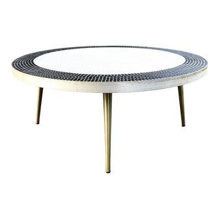 Mid Century Round Black & White Tile Coffee Table For Sale