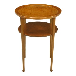 1940s Round Two-Tier Maple Side Table With Buffalo Leather Inlay
