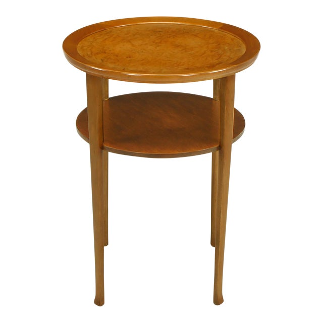 1940s round two tier maple side table with buffalo leather inlay for sale - Leather Side Tables