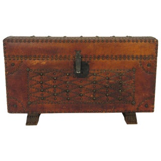 1950s Leather Studded Dome Top Trunk For Sale