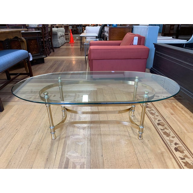 Maison Jenson Style Polished Brass + Glass Coffee Table For Sale - Image 9 of 9