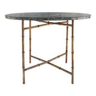 Mid-Century Modern Gilt-Iron Faux-Bamboo & Marble Side Table For Sale