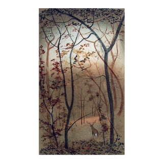 Quiet Sentinal, Deer at Forest Sunrise Etching