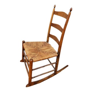 19th Century Early American Shaker Farmhouse Style Maple Rocking Chair For Sale