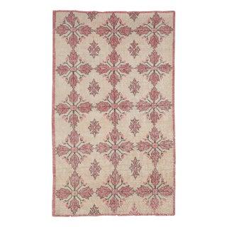 1960s Vintage Worn Turkish Floral Rug- 4′1″ × 7′ For Sale