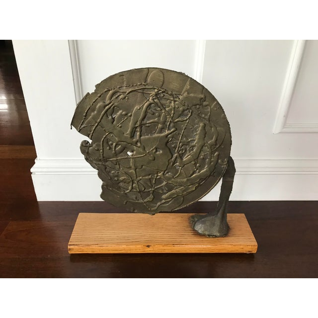 1960s Vintage Mid Century Modern Bronze Metal and Wood Abstract Sculpture For Sale - Image 5 of 12