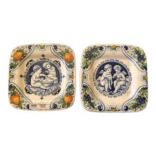 1960s Vintage Italian Hand Painted Angel Decorative Plates - a Pair For Sale