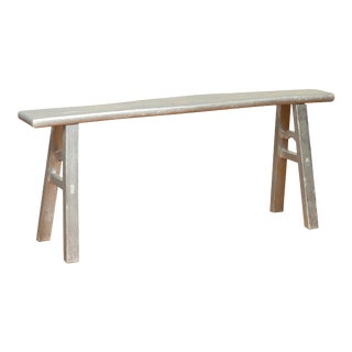Chinese Contemporary Silver Colored Wooden Bench with A-Form Base and Stretchers For Sale