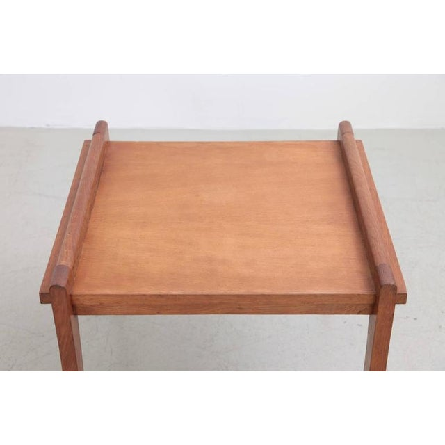 1950s Rare Rene Gabriel Side Table in Solid Oak For Sale - Image 5 of 7