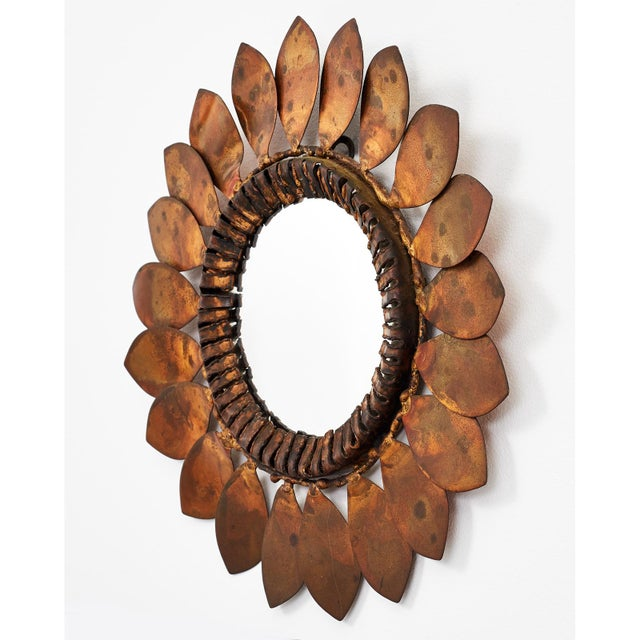Curtis Jere C. Jere Mixed Metal 'Sunflower' Vanity Mirror, 1968 For Sale - Image 4 of 8