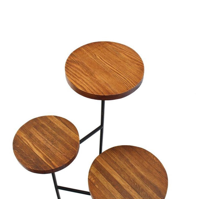 Wood Tri Leg Three-Tier Side Display Table Planter For Sale - Image 7 of 8