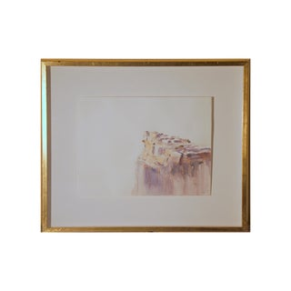 "Vintage Watercolor Painting ""The Cliff"", Signed and Framed For Sale"