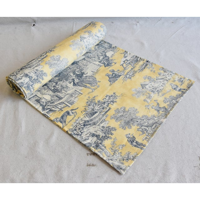 "Blue Custom French Country Farmhouse Toile Table Runner 110"" Long For Sale - Image 8 of 9"