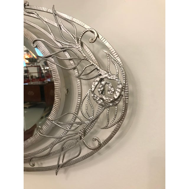 French Art Deco Geometric and Floral Wall Mirror For Sale - Image 4 of 10