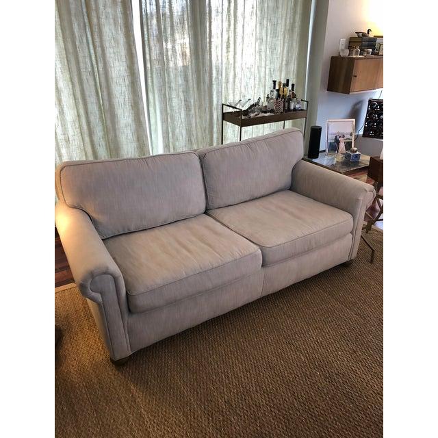 Linen Modern Restoration Hardware Linen Upholstered Standard Sofa For Sale - Image 7 of 8