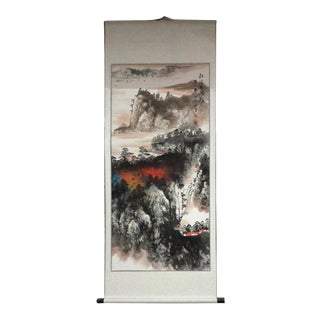 Chinese Print Water Mountain Scenery Scroll Painting Wall Art