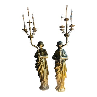 Antique Figurative Brass Staircase Lanterns - a Pair For Sale