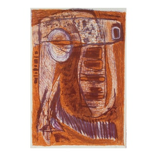 Jerry Opper Mid Century Modernist Lithograph in Rust and Purple, Circa 1950s Circa 1950s For Sale