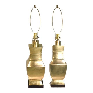 Mid-Century Solid Brass Banded Vase Table Lamps - a Pair For Sale
