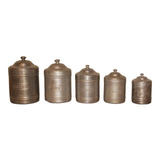 Mid-20th Century French Aluminum Kitchen Nesting Canisters - Set of 5