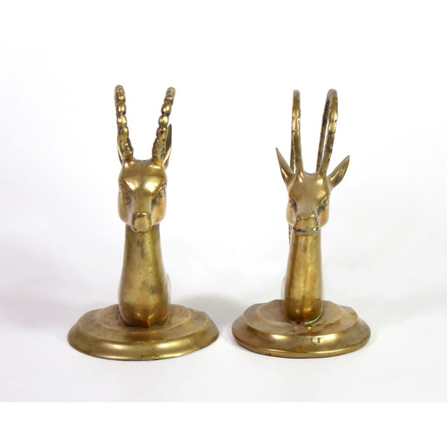 Mid-Century Modern 1960's Solid Brass Ibex Gazelle Him & Her Bookends - a Pair For Sale - Image 3 of 7