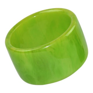 Bakelite Bracelet Bangle Oversized Apple Green Marble For Sale