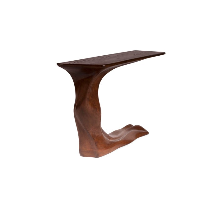 Contemporary Frolic Walnut Finish Console Table With Base For Sale - Image 3 of 9