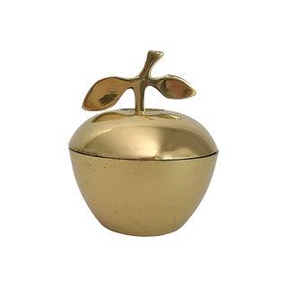 MCM Brass Apple Jar With Leafed Stem For Sale