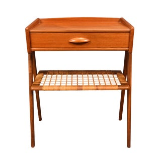 1960s Scandinavian Modern Teak and Cane Side Table For Sale