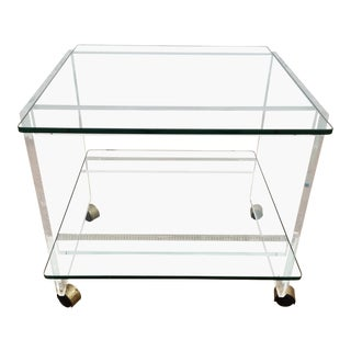 Vintage Two Tier Lucite Rolling Side Table