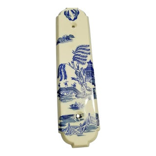 Cobalt Blue & White Willow Pagoda Push Finger Door Plate For Sale
