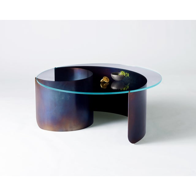2010s Wave Coffee Table in Contemporary Heat Tempered Steel and Starfire Glass For Sale - Image 5 of 6