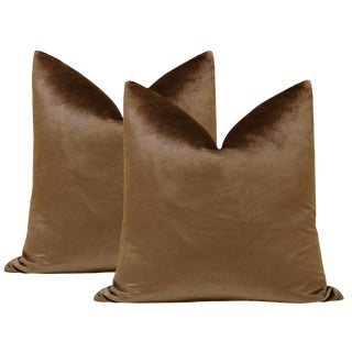 "22"" Italian Silk Velvet Pillows in Mahogany - a Pair For Sale"