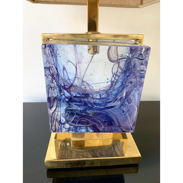Contemporary Contemporary Pair of Lamps Brass Cage Murano Glass Cube, Italy For Sale - Image 3 of 11