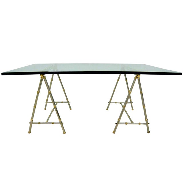 1960's Maison Jansen Brass & Steel French Modernist Cocktail Table For Sale