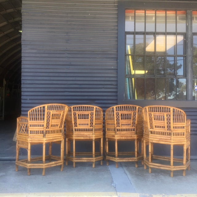 Vintage Brighton Style Rattan Chairs- Set of 4 - Image 4 of 9