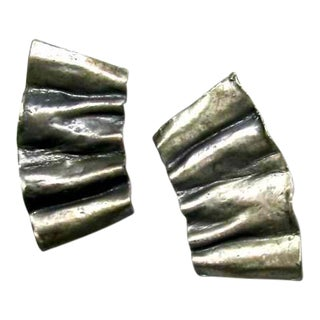 1990s Gunmetal Crinkled Earrings For Sale