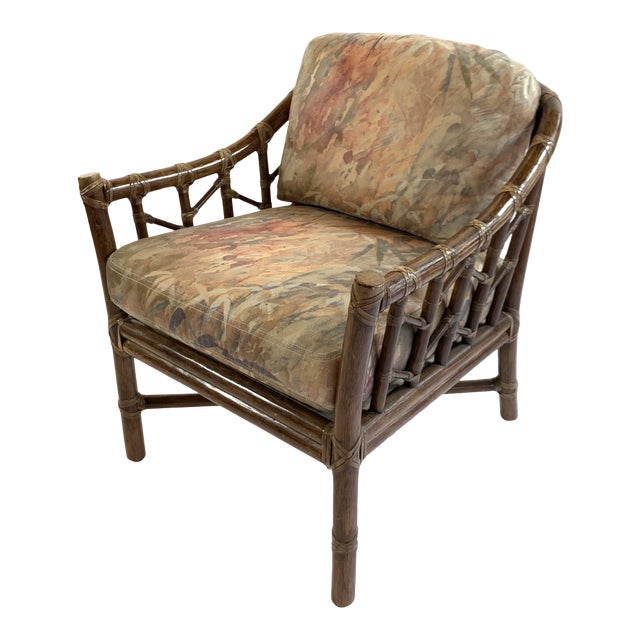 1970s Vintage McGuire Rawhide Laced Rattan Chair For Sale
