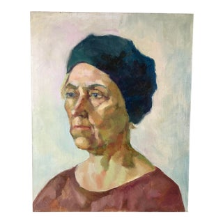 Oil on Canvas Portrait Woman With Blue Beret For Sale