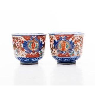 19th Century Japanese Imari Namasu Tea Cups With Crane Design - a Pair Preview
