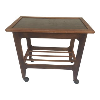 Mid-Century Modern Wooden Rolling Tray Table Cart